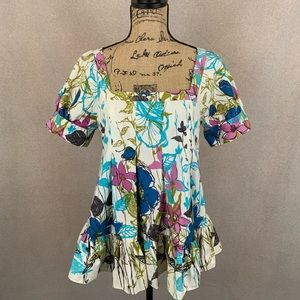 Anthropologie Tabitha Floral Watercolor Print Top